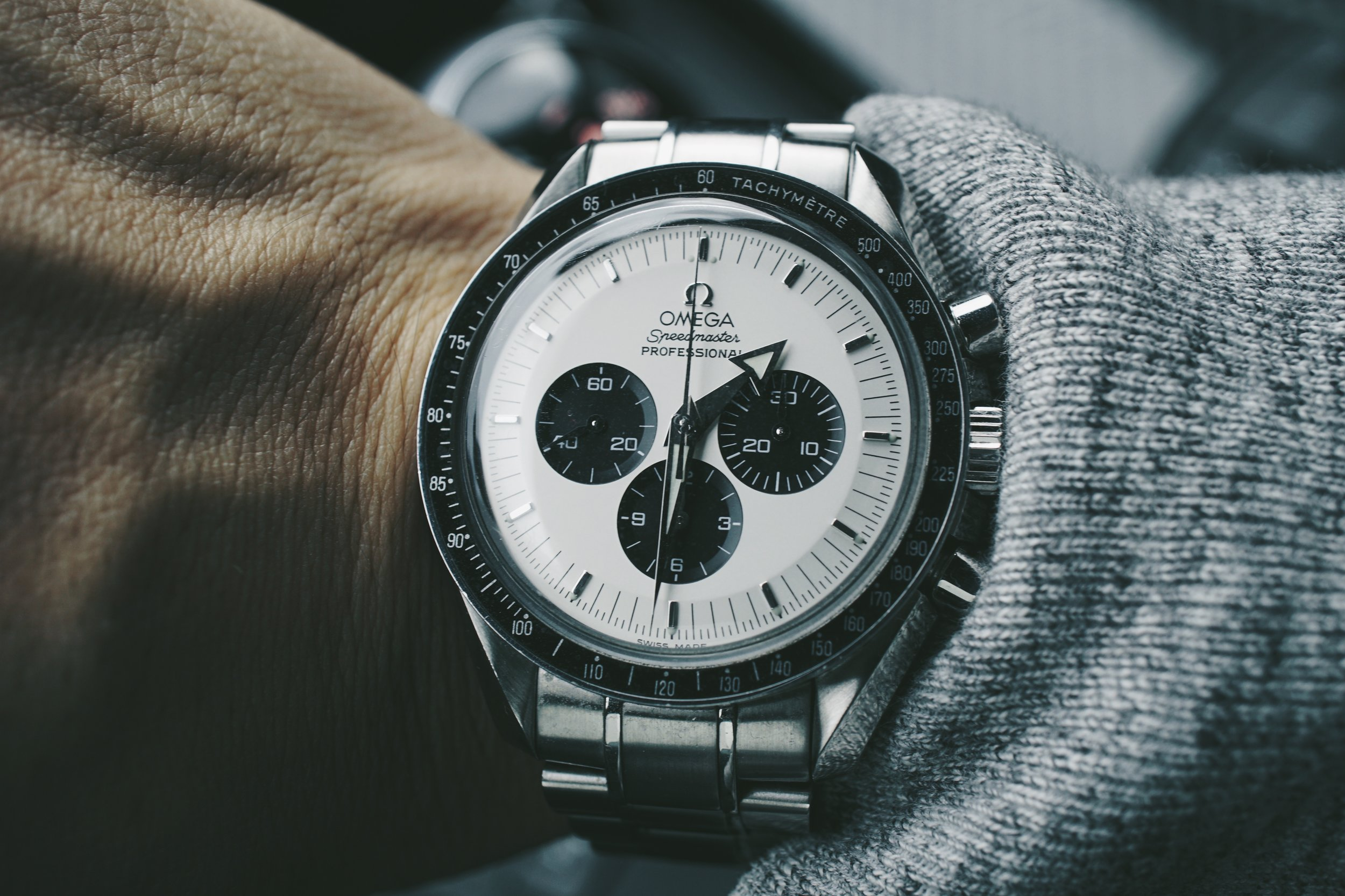 Omega Speedmaster Professional ref 3570.50 with Mitsukoshi Panda Dial and Broad Arrow Hands
