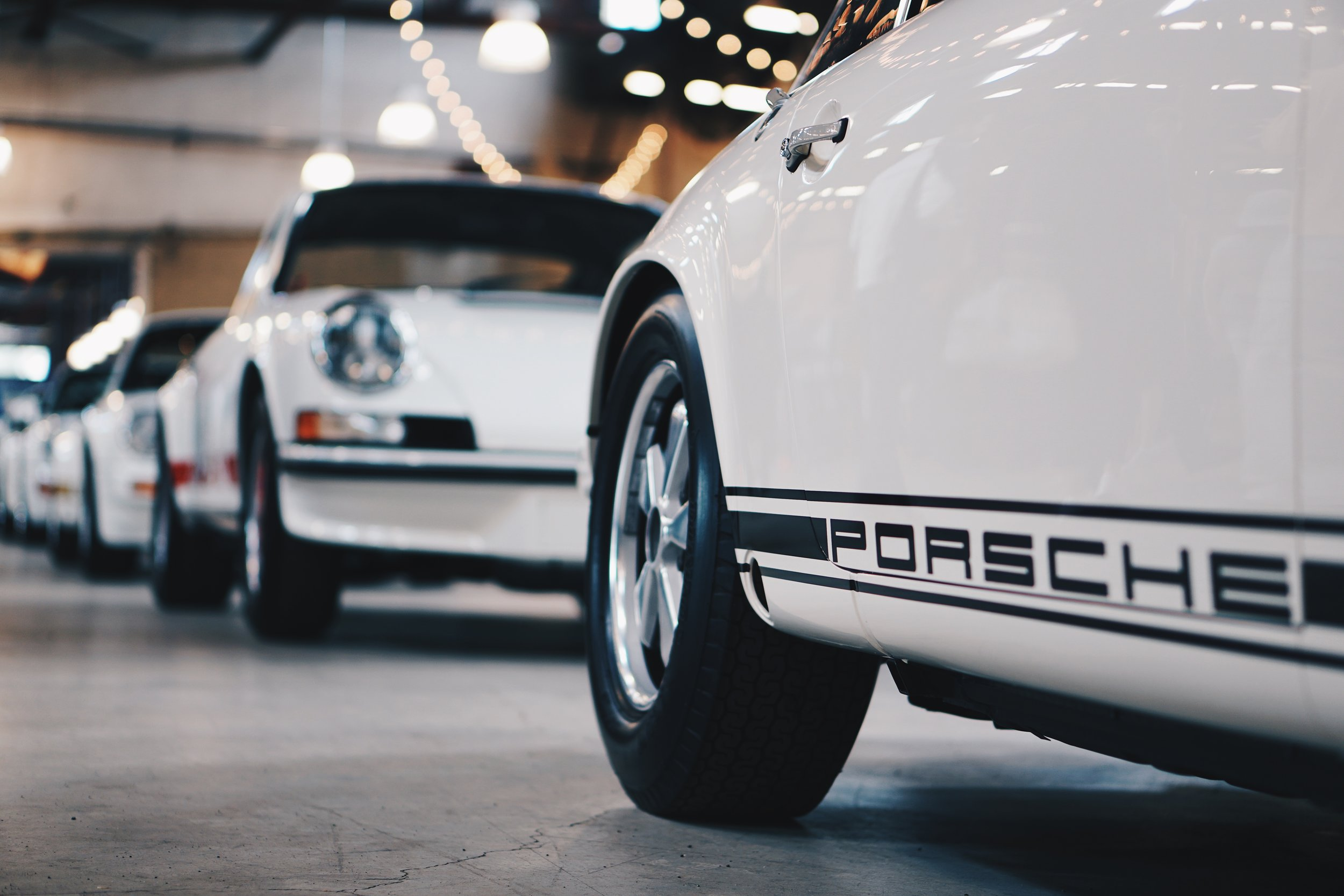 Porsche's for miles and miles...
