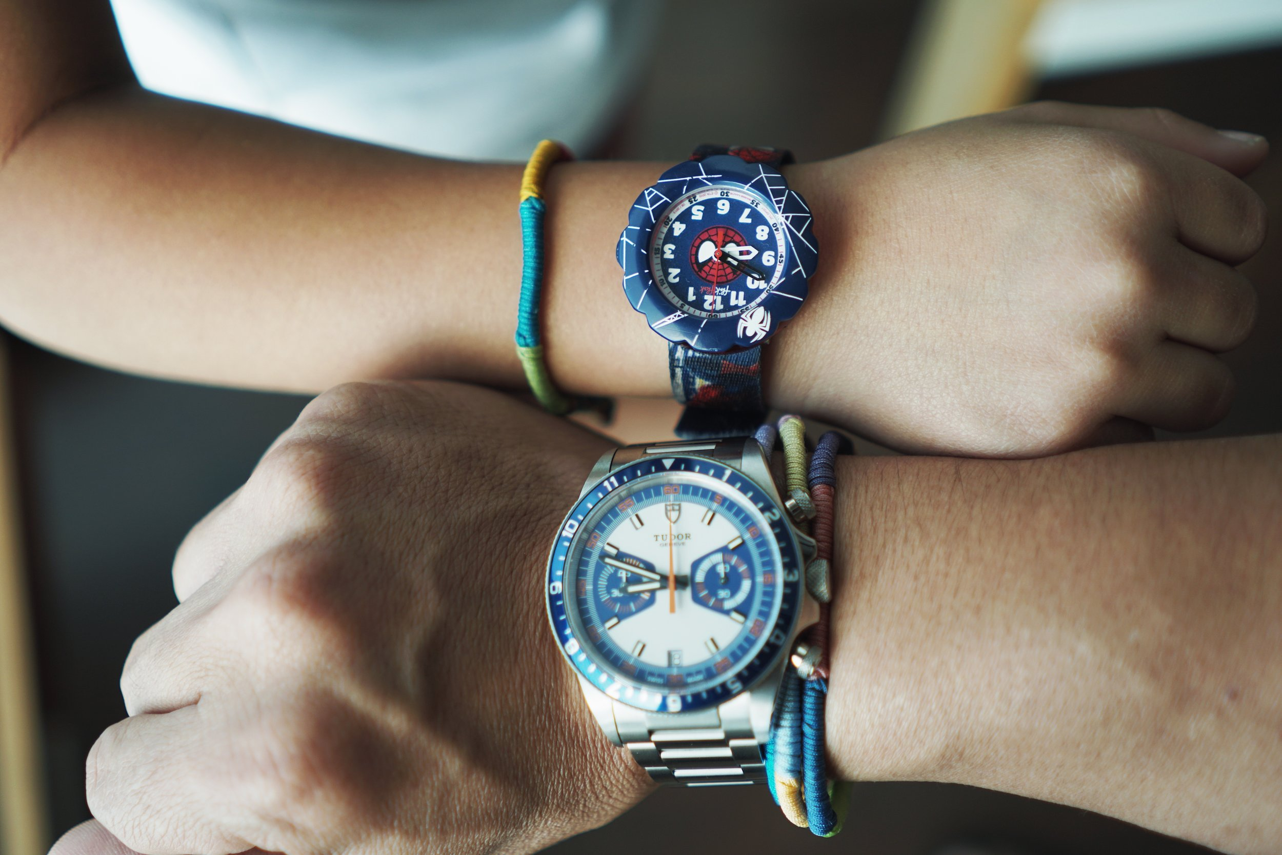 Swatch Spider-Cycle ref FLSP001 and Tudor Heritage Chrono Blue ref 70330B