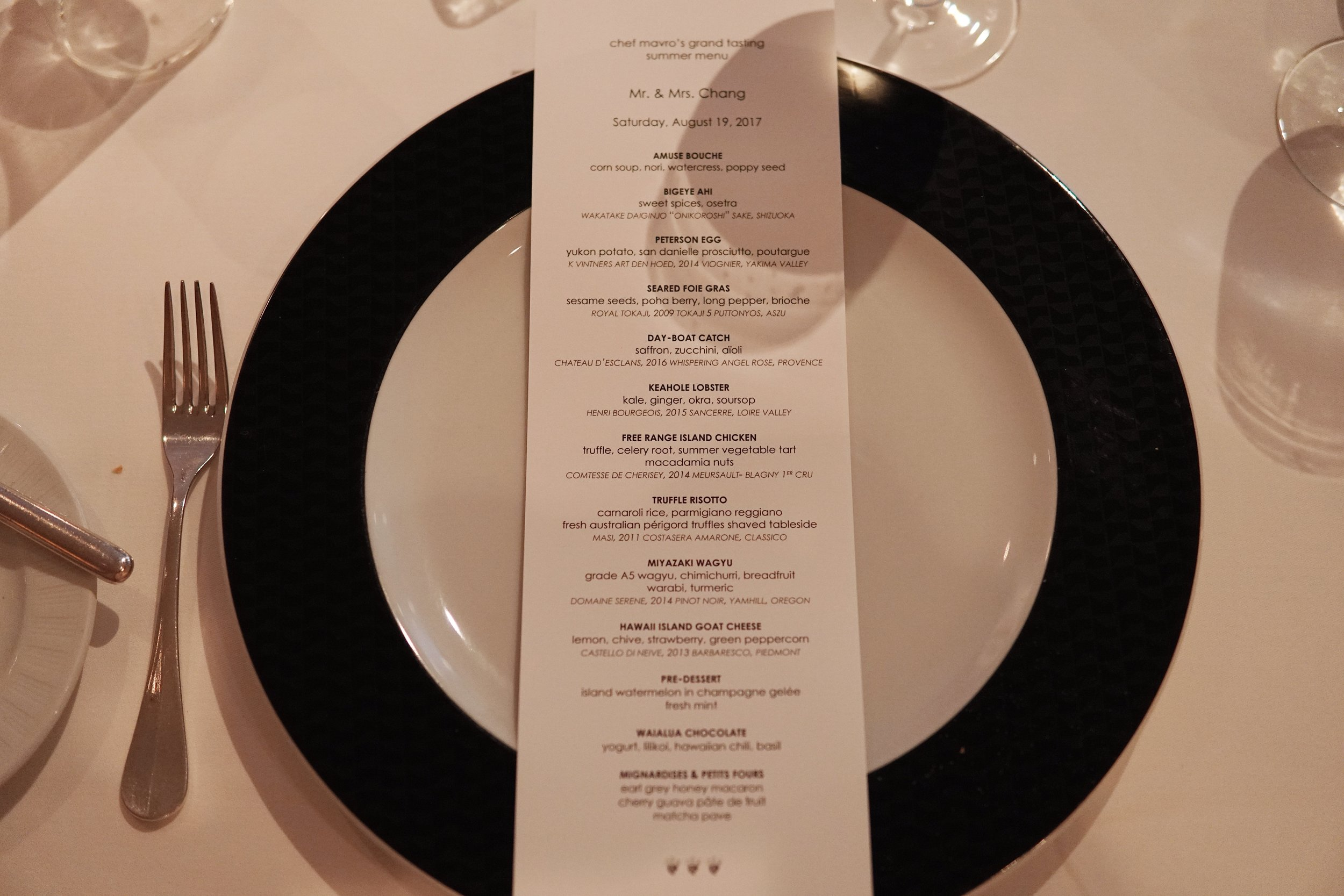 Customized Menu and 13 Courses.  13!