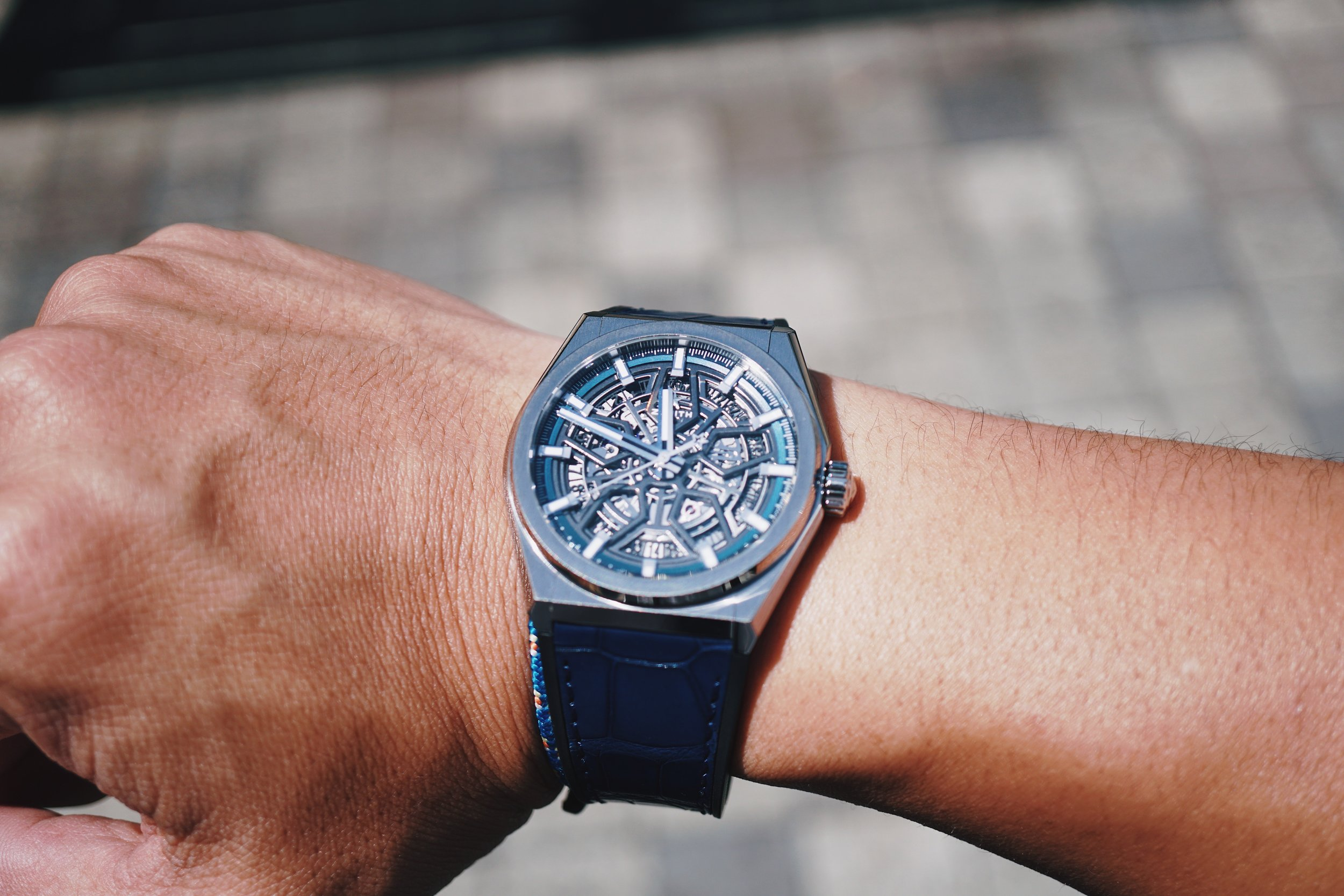 Zenith Defy Classic with Openworked Dial and Blue Alligator Strap