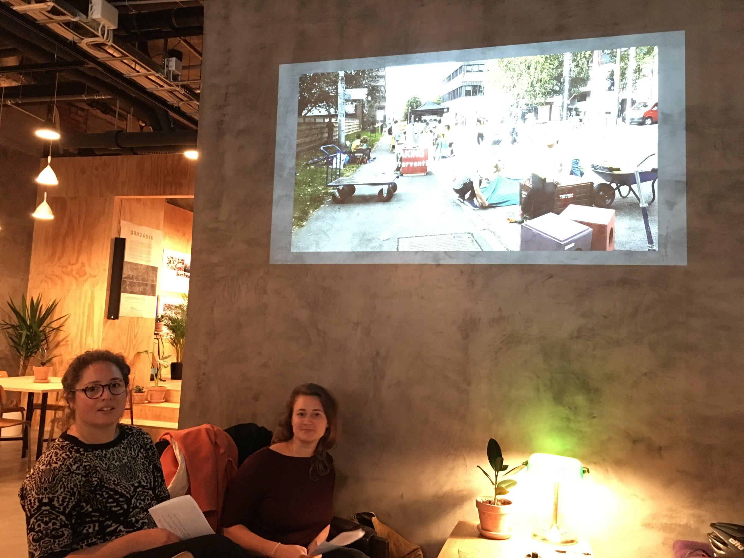 Tøyen Tegnelaboratorium holdt innlegg om diplomprosjektet fra Tøyen med fokus på løsningene for bilfritt byliv. Foto: Ewald