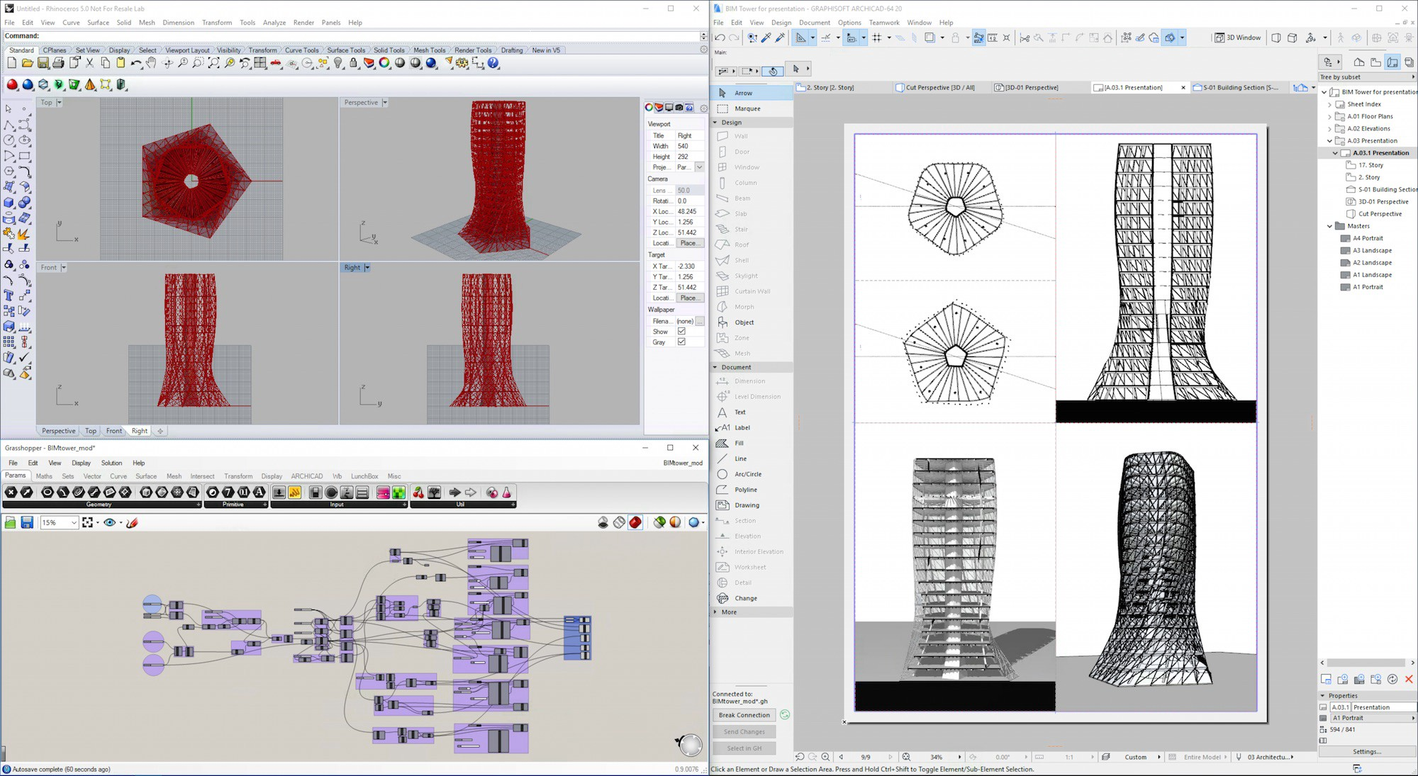 GRAPHISOFT's Rhino-Grasshopper-ARCHICAD connection is a bi-directional link between all three programs that brings algorithmic design deep into the BIM workflow. As such, GRAPHISOFT aims to court high-end design firms around the world that are deeply invested in Rhino-Grasshopper workflows.