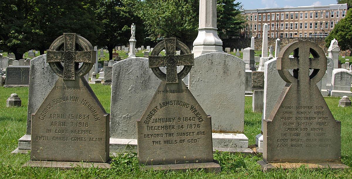 A trio of gravestones in Baltimore's Green Mount Cemetery