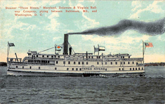 "The ""Three Rivers"" was one of many bay steamers that crisscrossed the Chesapeake Bay in the 1920s. It was named for the Potomac, Patuxent and Rappahannock Rivers, where it was frequently at work. On July 4, 1924, five adults and five Baltimore boys who played in the Baltimore Sun Newsboys Band perished during an onboard fire."