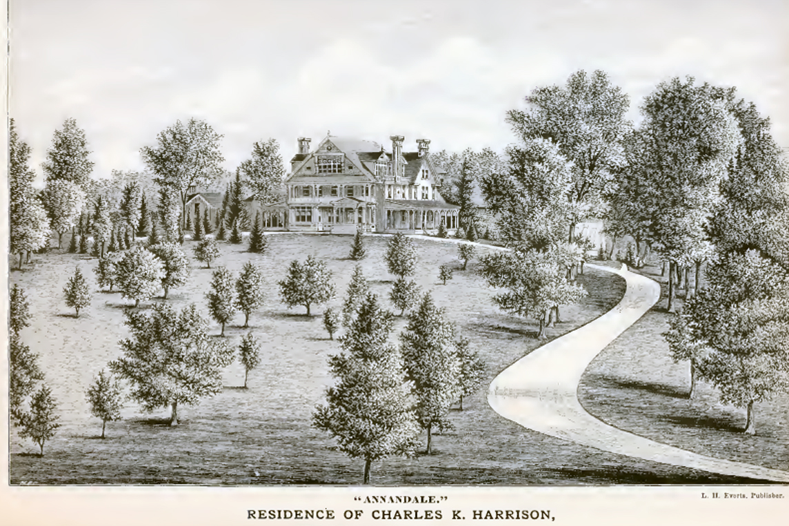 A drawing of Annandale, residence of Charles K. Harrison of Pikesville. It was located on the present site of Druid Ridge Cemetery.