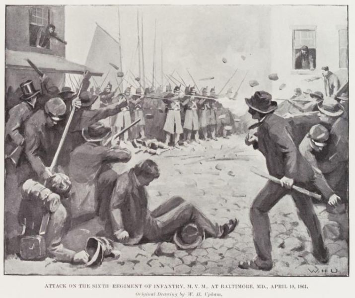 """General Research Division, The New York Public Library. """"Attack on the Sixth Regiment of Infantry, M. V. M., at Baltimore, MD., April 19, 1861."""" The New York Public Library Digital Collections. c1899-c1901."""