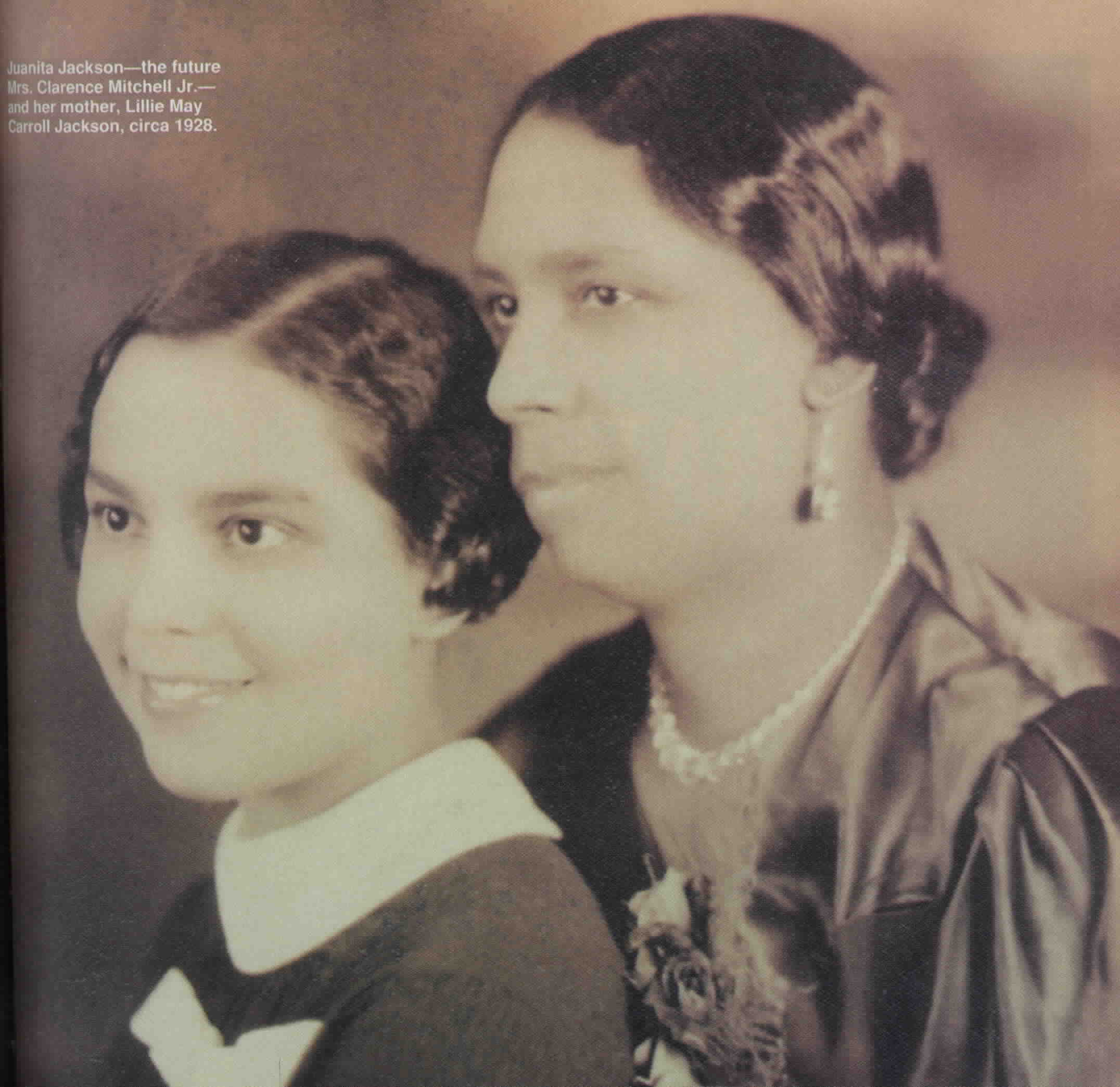 Lillie May Carroll Jackson with her daughter Juanita Jackson Mitchell. Maryland State Archives  MSA SC 3520-13566