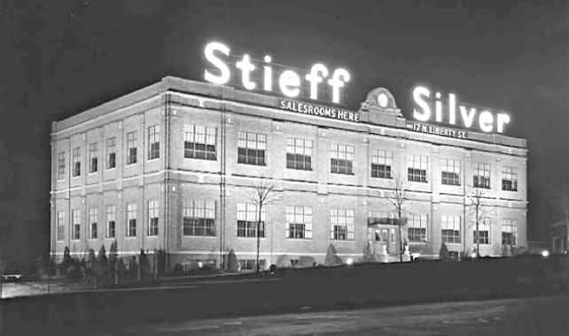 The Stieff Company was the last remaining Baltimore company to manufacture sterling silver flatware. They purchased what was once Schofield Silver Company from Oscar Caplan. The building remains an iconic landmark in Baltimore's Hampden neighborhood.