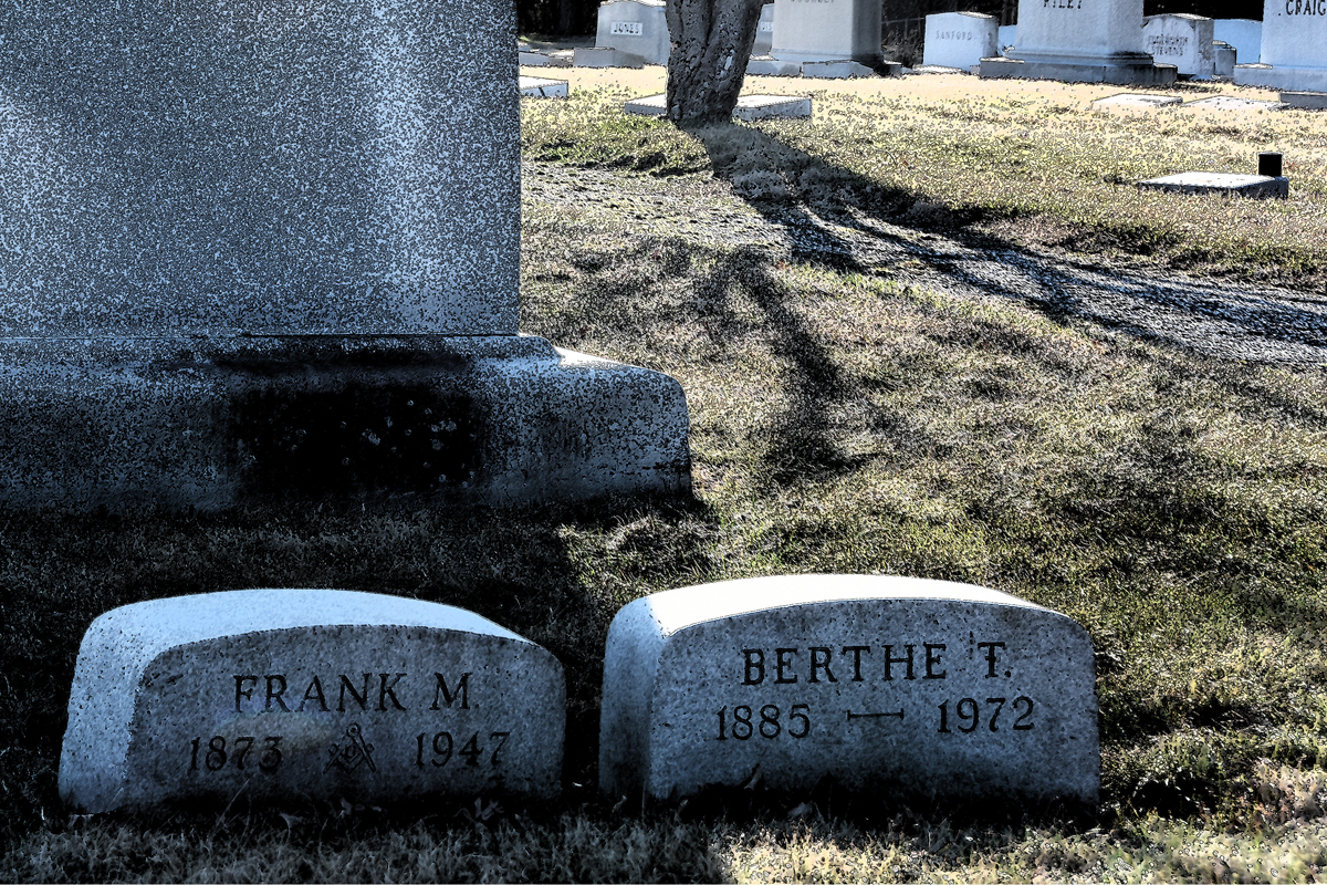Frank and Berthe Schofield, famous for their exquisite sterling silver designs, are buried together in Druid Ridge Cemetery in Pikesville, Maryland