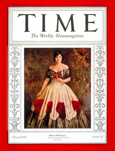 Rosa Ponselle appeared on the cover of November 9, 1931 edition of Time Magazine in an off-the-shoulder lace gown.