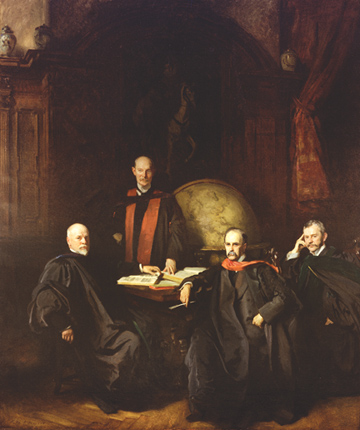 "The ""Founding Four"" of Johns Hopkins Hospital. The portrait is by  John Singer Sargent  (1907), which hangs in the Welch Library at Johns Hopkins. They are: (l to r) Dr. William H. Welch, the first Dean of the school, Dr. William Osler, Dr. William S. Halsted and Dr. Howard A. Kelly."