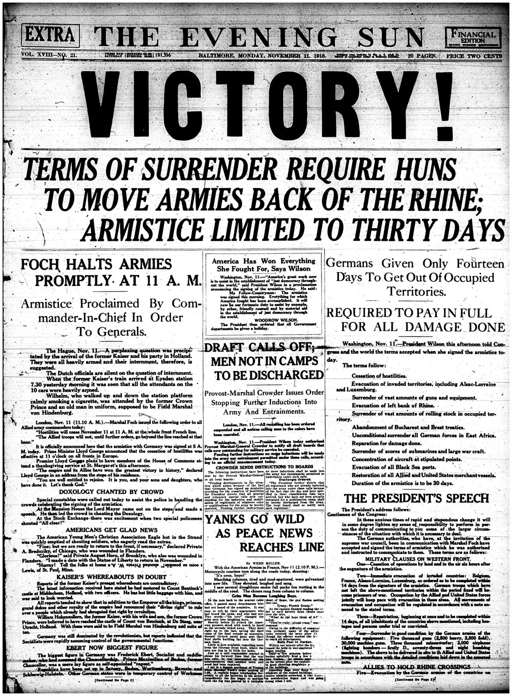 """An image of the front page of the Baltimore Sun, dated November 11, 1918. The headline says """"Victory!"""""""