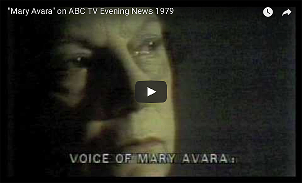 "Mary Avara"" on ABC TV Evening News 1979    SEE PHOTOS AND MORE VIDEO CLIPS OF MARY AVARA:  THE GRANDMOTHER WHO FOUGHT PORN: MARY AVARA, MARYLAND HISTORICAL SOCIETY NEWSLETTER: UNDERBELLY, APRIL 24, 2014"
