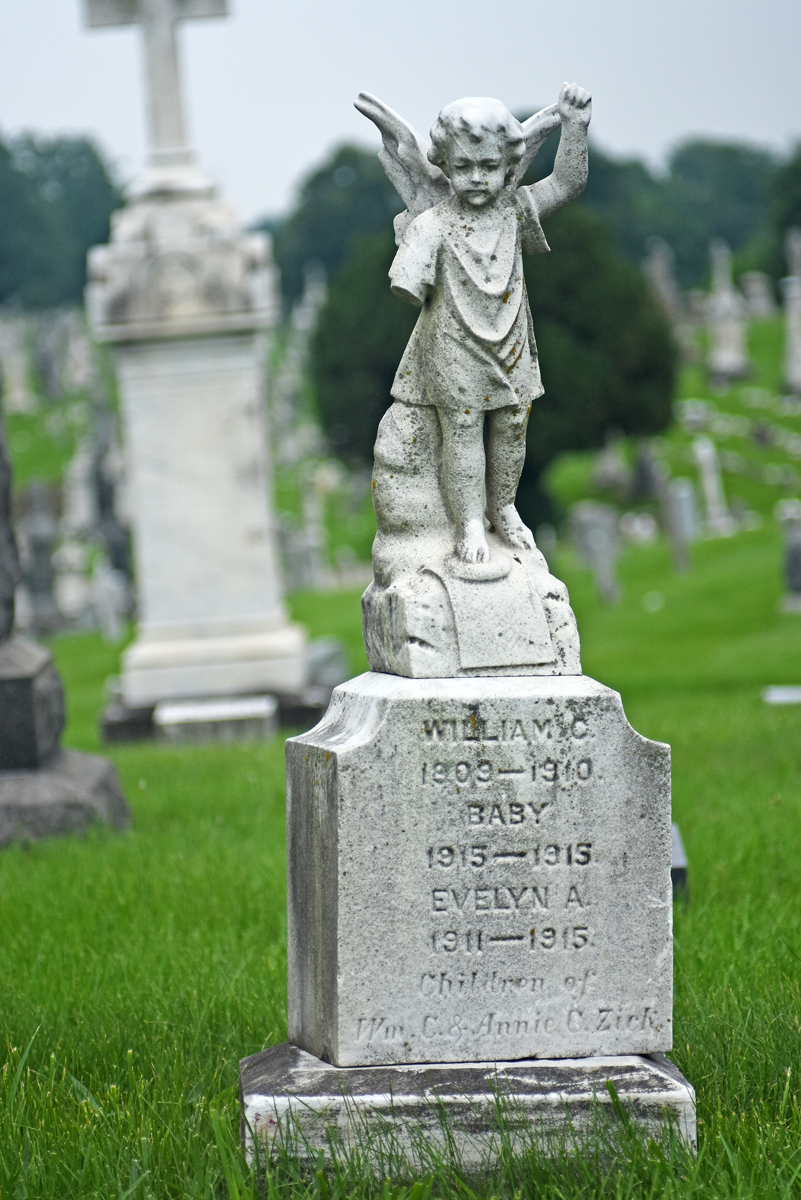 The children of William C. & Annie C. Zirk are buried together at New Cathedral Cemetery