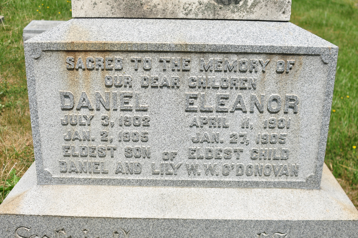 The heartbreaking inscription on the gravestone of Daniel & Lily O'Donovan's children at New Cathedral Cemetery