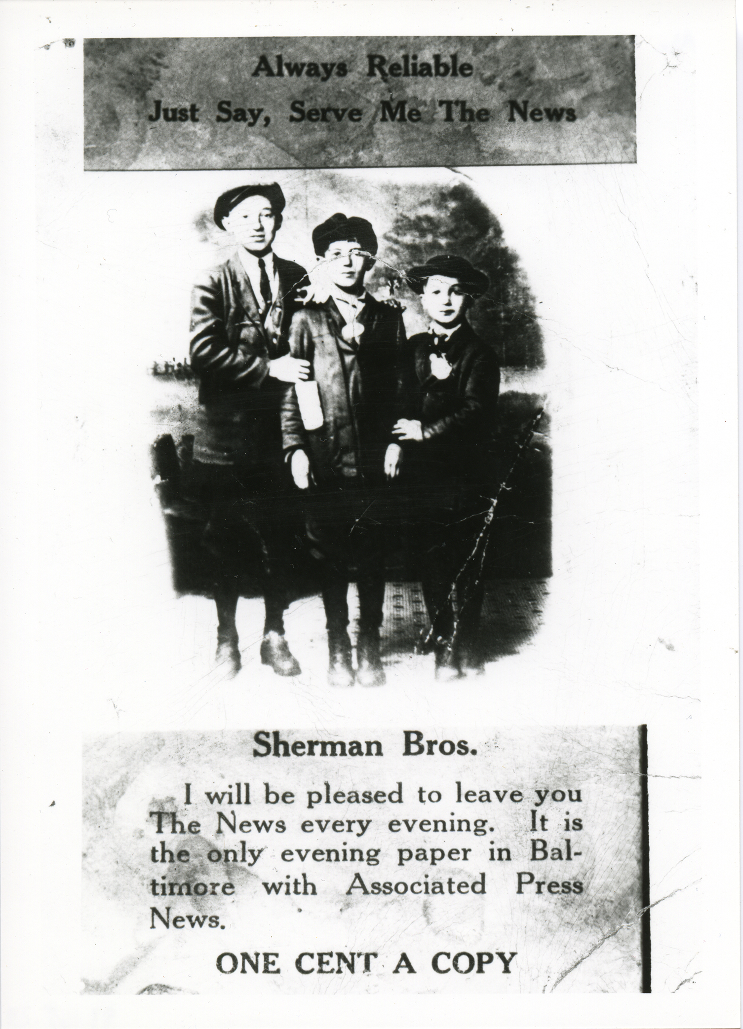 Abe Sherman and his brothers began selling newspapers as boys. Graphic courtesy of the  Jewish Museum of Maryland , JMM 1988.165.2b