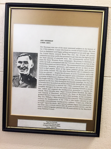 Abe Sherman is remembered at the  Maryland Museum of Military History  at the Fifth Regiment Armory