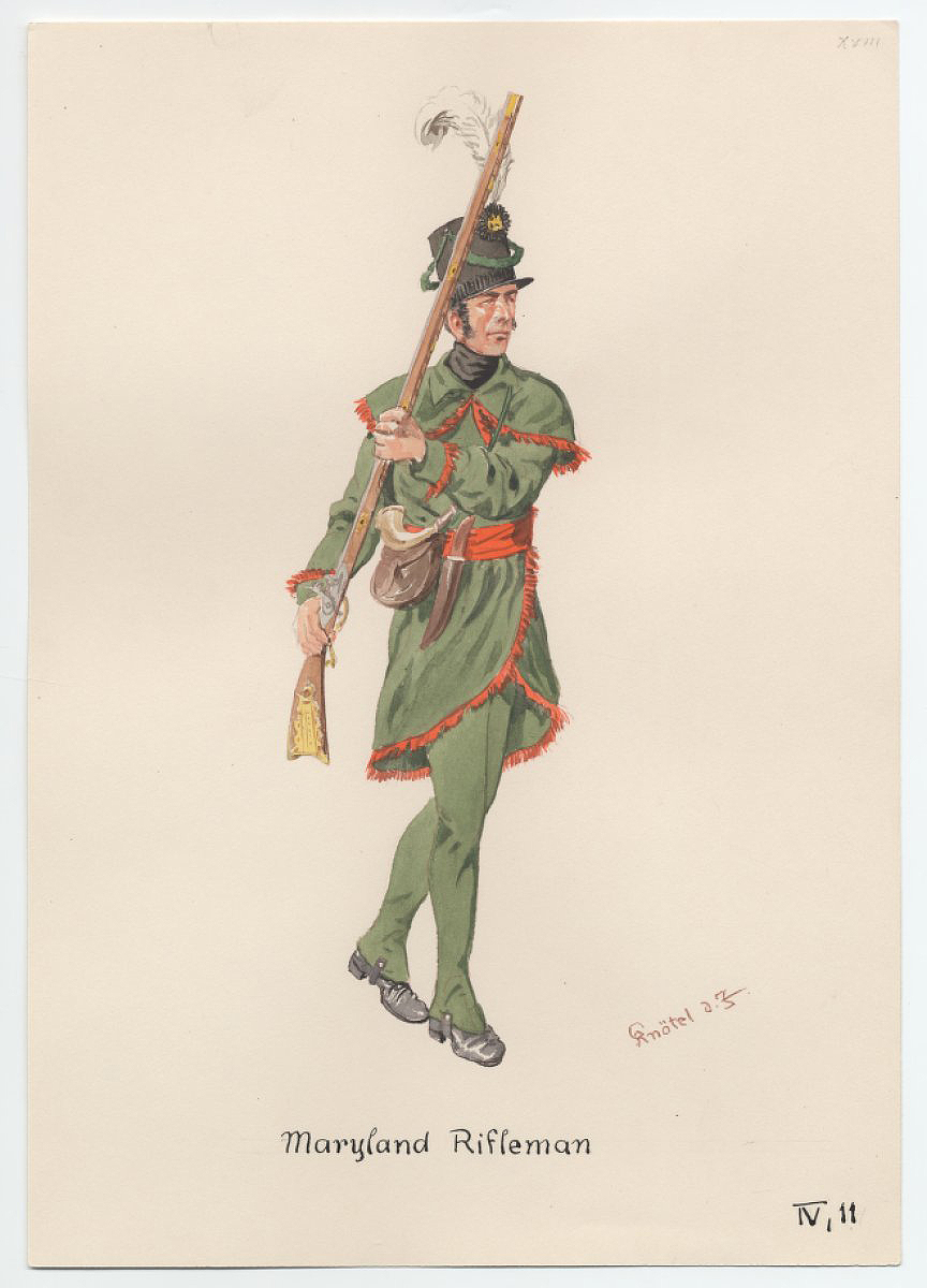 The uniform likely worn by Wells and McComas. Maryland Rifleman, by Herbert Knötel, from the Anne S.K. Brown Military Collection