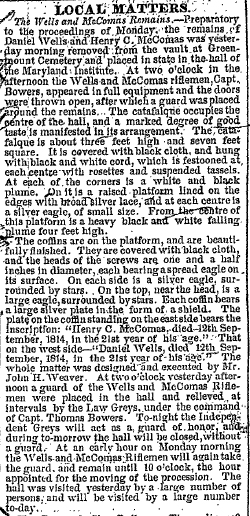 Image of a newspaper article from the The Baltimore Morning Sun, September 11, 1858. Over two days, the people of Baltimore paid their respects to Wells and McComas.