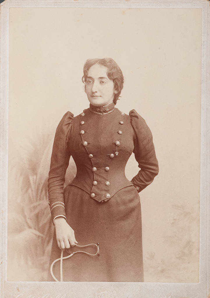 Claribel Cone as a resident physician.  Gilbert Studios, Philadelphia. PA. Claribel Cone as a resident physician at Blockley Almshouse in Philadelphia, Circa 1891 - 1892 Claribel and Etta Cone Papers, Archives and Manuscript Collections, The Baltimore Museum of Art. CC.2