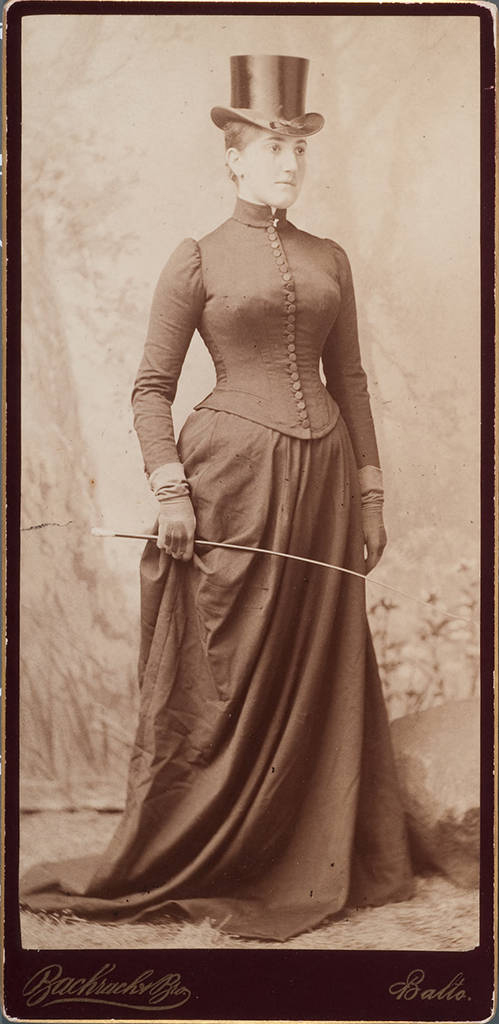 Etta Cone wearing a riding outfit, circa 1889, Bachrach Bros. Claribel and Etta Cone Papers, Archives and Manuscript Collections, The Baltimore Museum of Art. EC.1