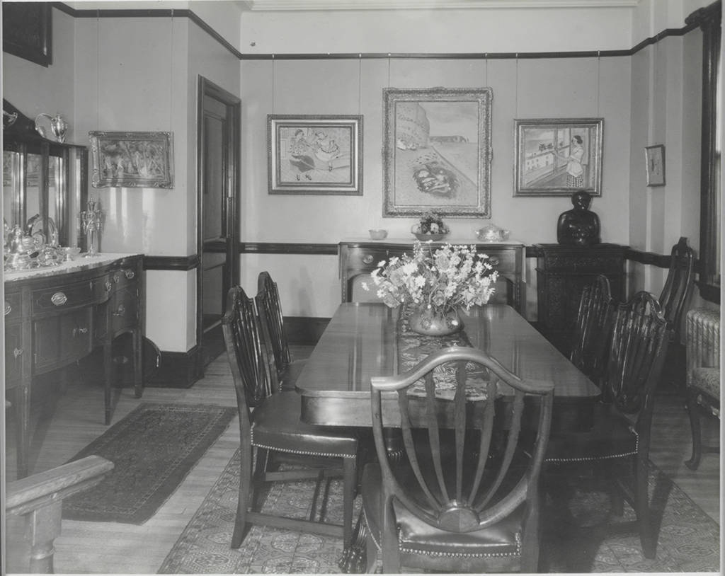 Imagine artists, authors and intellectuals gathered in Etta Cone's dining room in Baltimore's Marlborough Apartments.   Dining room, Etta Cone's apartment (8D), Marlborough Apartments, Baltimore, Maryland. Claribel and Etta Cone Papers, Archives and Manuscript Collections, The Baltimore Museum of Art. CH.30.A