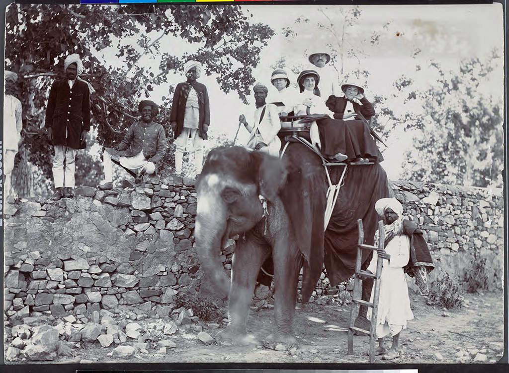 Etta Cone and Claribel Cone seated on an elephant with Moses and Bertha Cone, India, 1907. Claribel Cone and Etta Cone Papers, Archives and Manuscripts Collections, The Baltimore Museum of Art. CG.18