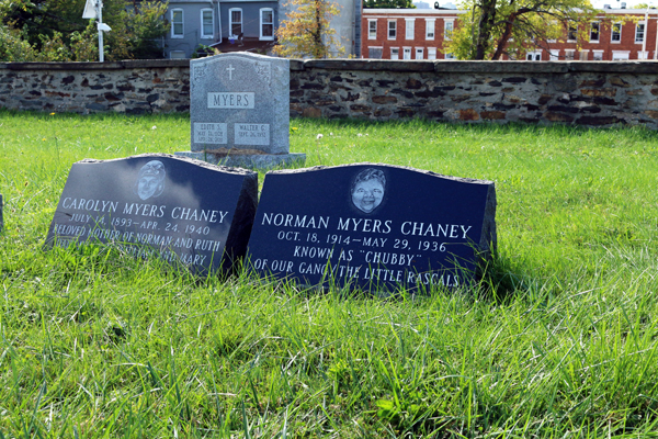 "Norman Myer Chaney, known as ""Chubby"" rests next to his mother in Baltimore Cemetery."