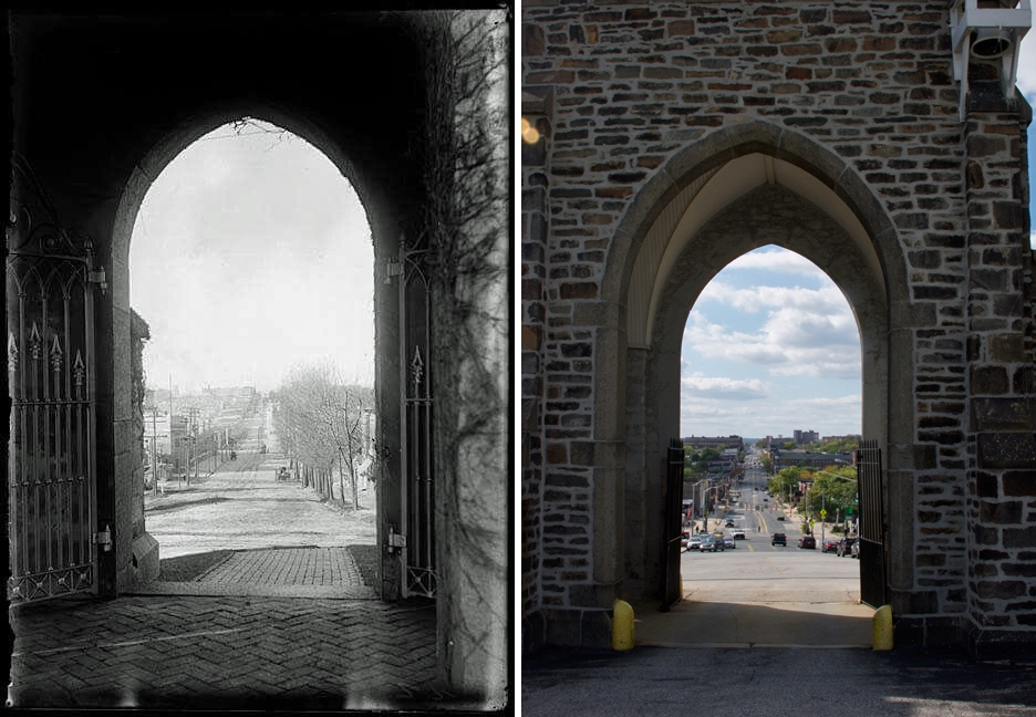 Then and now, looking out on North Avenue from Baltimore Cemetery