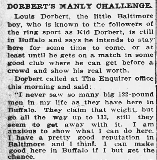 """Louis """"Kid"""" Dorbert fought with confidence during his bouts in Buffalo , New York. This article appeared in the Buffalo Currier on June 8. 1911."""