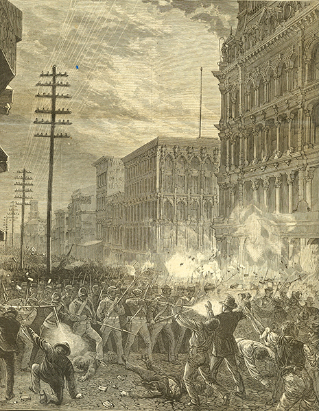 Maryland National Guard's Sixth Regiment fighting its way west along main downtown commercial thoroughfare Baltimore Street through Baltimore, Maryland, 20 July 1877.