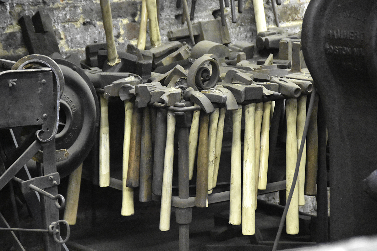 Handtools at G. Krug and Son Ironworks are still in regular use.