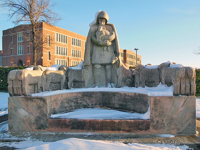 This memorial to Lizette Woodworth Reese can be seen from 33rd Street in front of the former Eastern High School campus, now occupied by Johns Hopkins University Eastern Campus. Photo credit: Joe Stewart