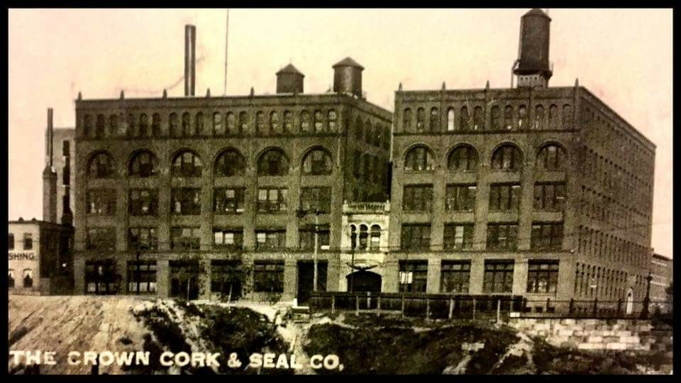 An early photo of the Crown Cork and Seal building at Guilford and Oliver in Baltimore