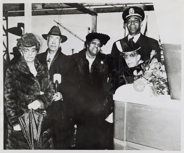 Shown in the photo [left to right] at the christening of the John H. Murphy: Mrs. George B. Murphy; Sr., [his son and daughter-in-law], Mrs. John Murphy, and in front of Capt. Godfrey, Miss Frances Murphy, only surviving daughter of Mr. Murphy, christened the new vessel.  Schomburg Center for Research in Black Culture, Photographs and Prints Division, The New York Public Library