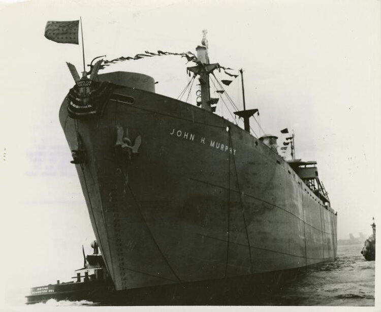 John H. Murphy, Sr., native of Baltimore,Maryland and founder of the Afro-American Newspapers, was honored on March 29, 1944 when a liberty ship bearing his name was launched at the Bethlehem-Fairfield Shipyard. Many civic and religious leaders, as well as 36 relatives, were on hand. Photo shows the  SS John H. Murphy  just after she slid into Curtis Bay.  Schomburg Center for Research in Black Culture, Photographs and Prints Division, The New York Public Library