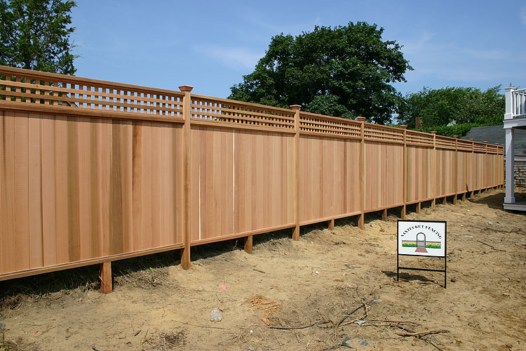 Wooden privacy fencing