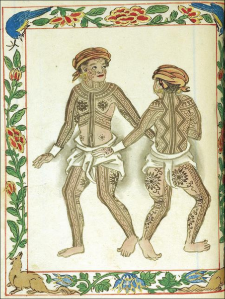 Ancient Visayan tattoos as documented in the Boxer codex, a manuscript written c. 1590, which contains illustrations of ethnic groups in the Philippines at the time of their initial contact with the Spaniards.