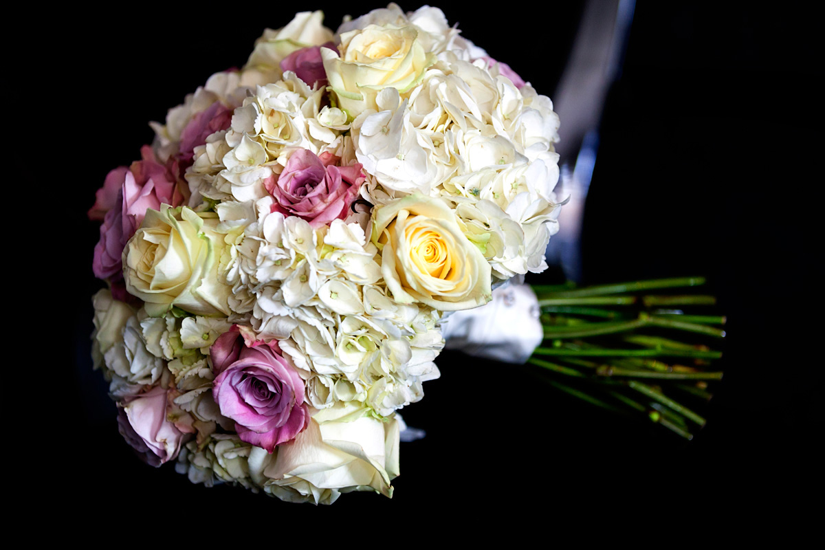 Bridal bouquet before wedding at Braxted Hall, Suffolk wedding