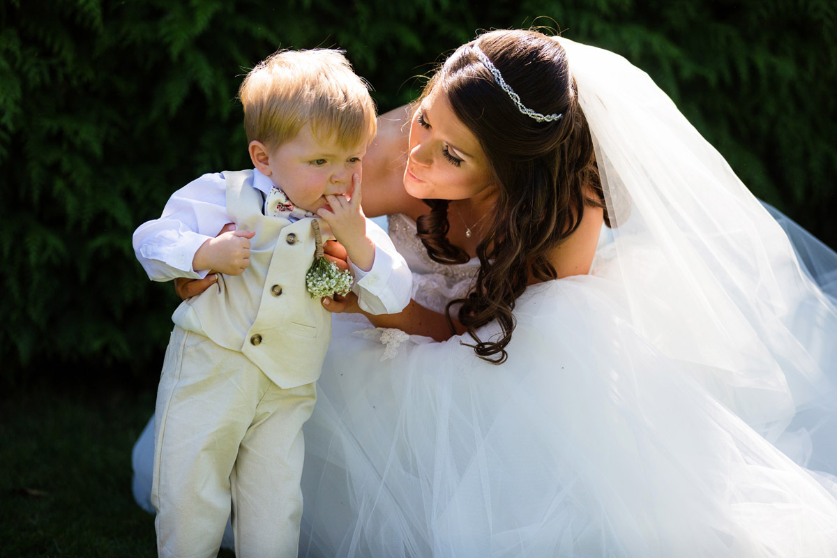 Bride with her son before the wedding ceremony