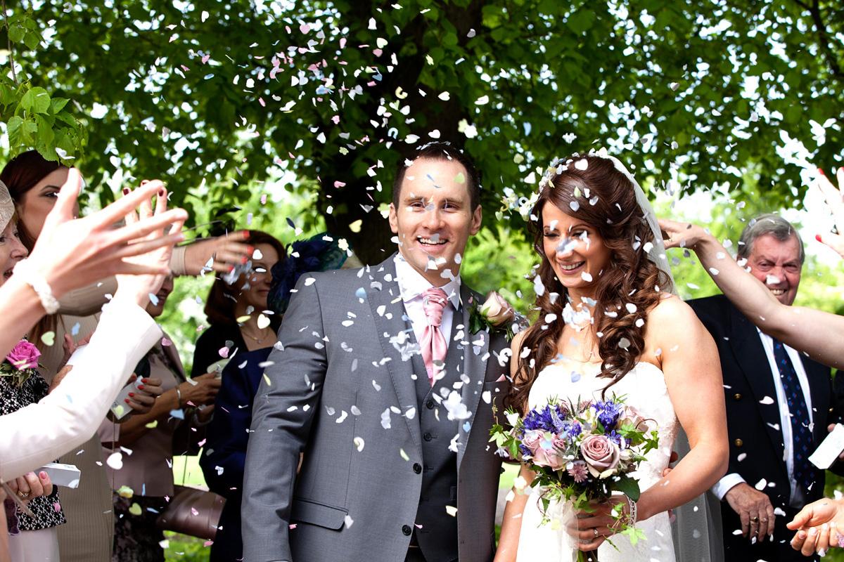 Confetti at Kersey, Suffolk wedding