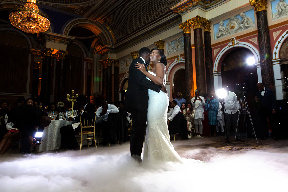 First dance for bride and groom with dry ice on floor at Gibson Hall, London