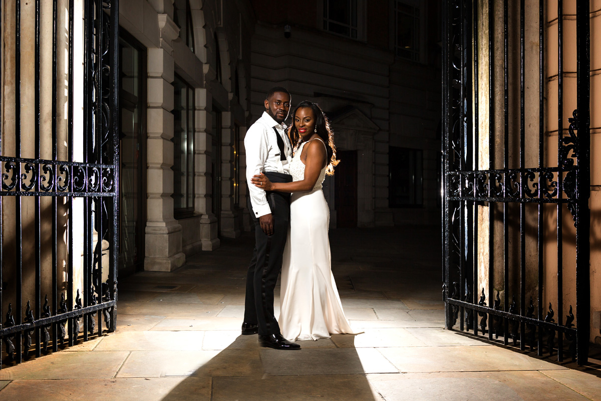 Bride and groom portrait using two lights at their London wedding