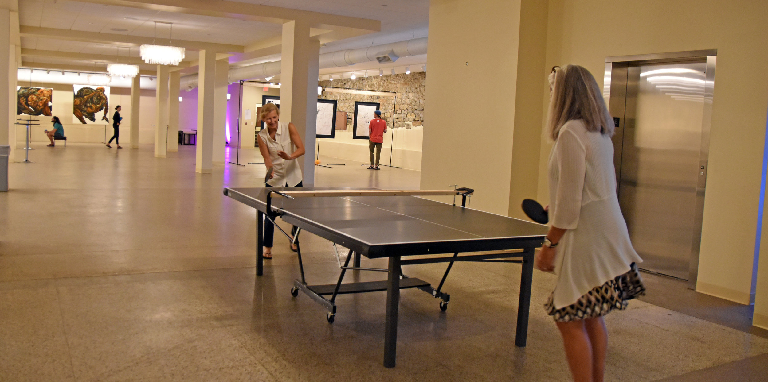 Above: a quick snap of the festivities at the opening reception for RIGID DESIGNATORS (note improvised table tennis net)