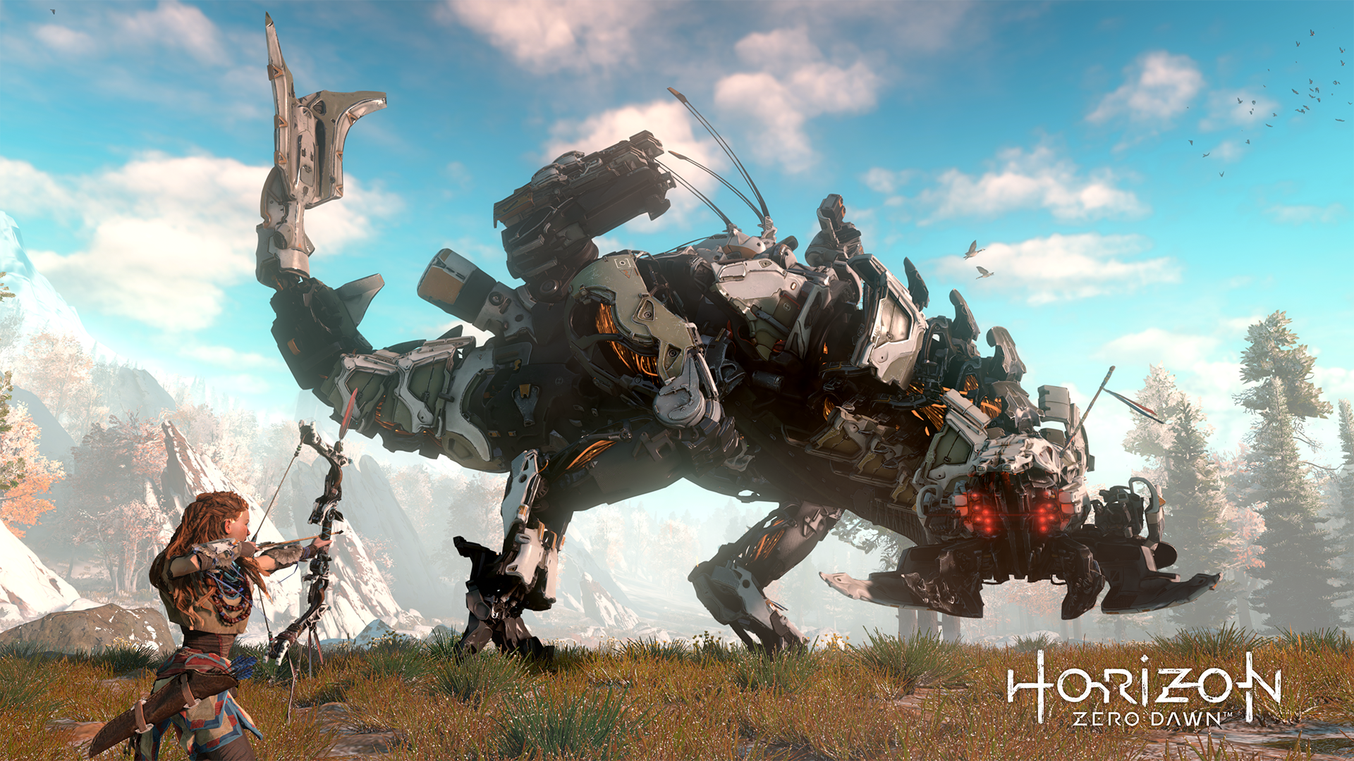 Aloy challenges a Thunderjaw, one of the more fearsome machines you'll face.