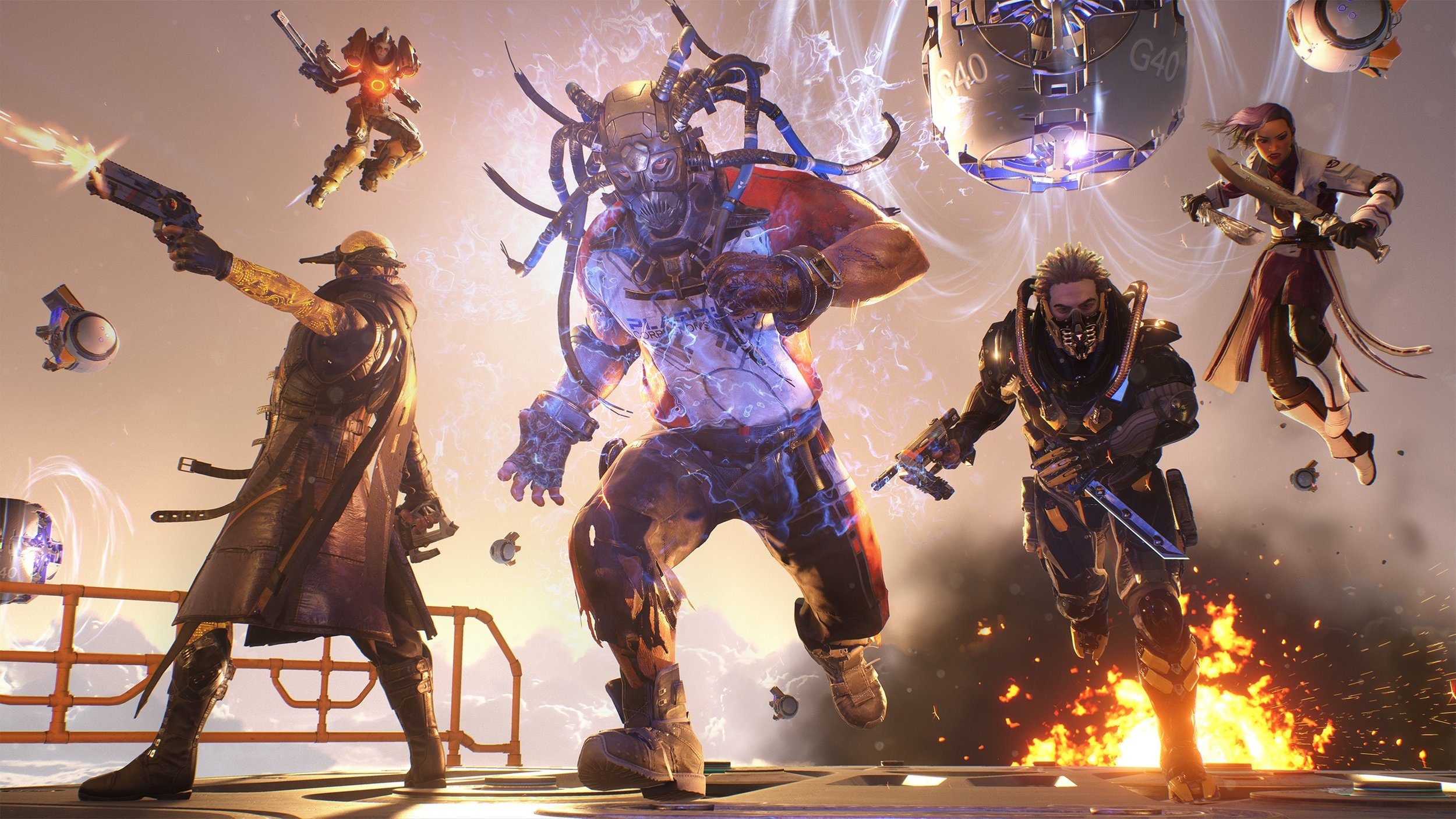 """An example of a team of """"Breakers"""". From left to right: Gunslinger, Vanguard, Titan, Wraith, and Assassin"""