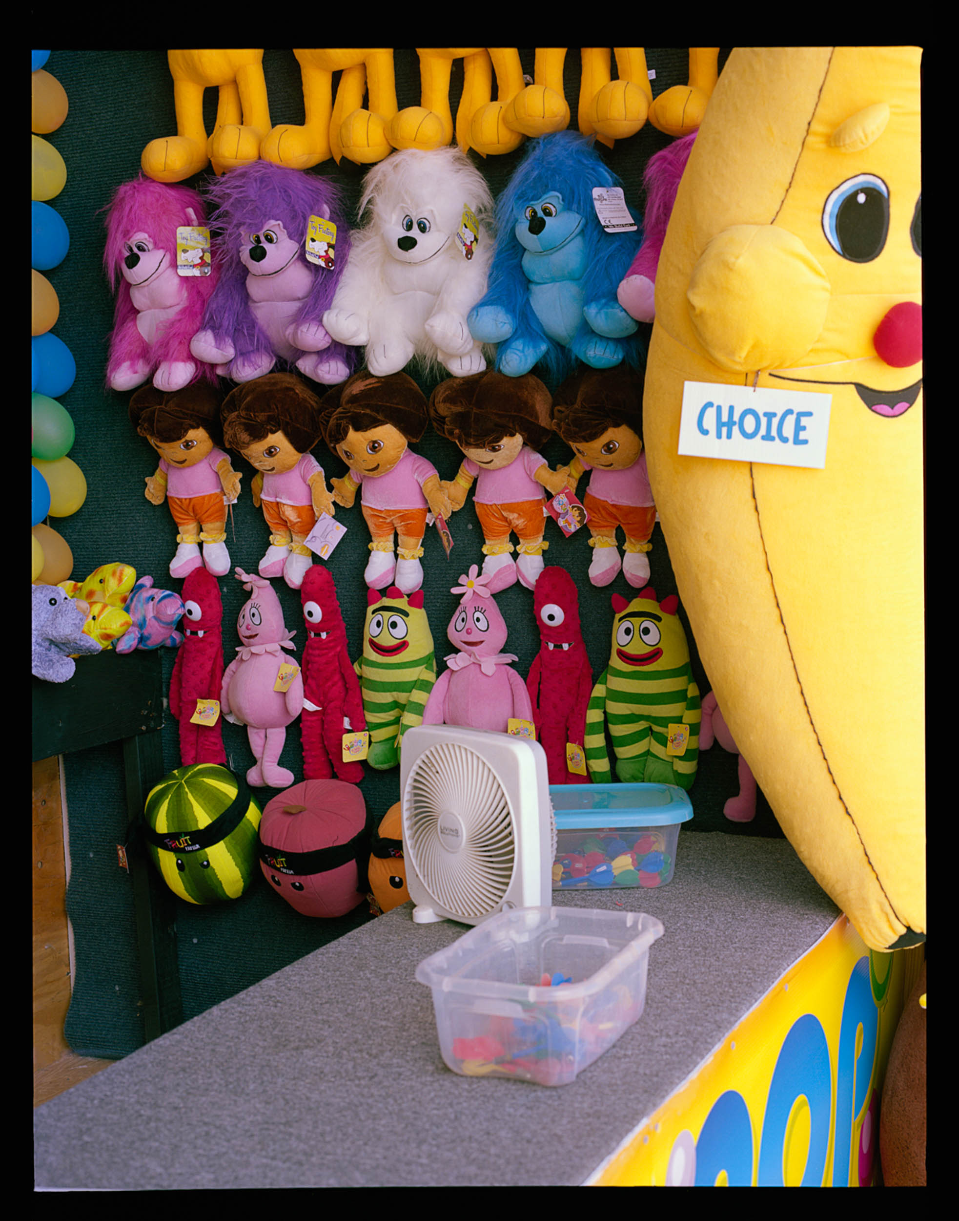 Choice, Seaside, NJ 2014 120 Mamiya RZ67.    This is part of one of Anthony's stand, and the prizes you can win if you pop balloons with some darts.