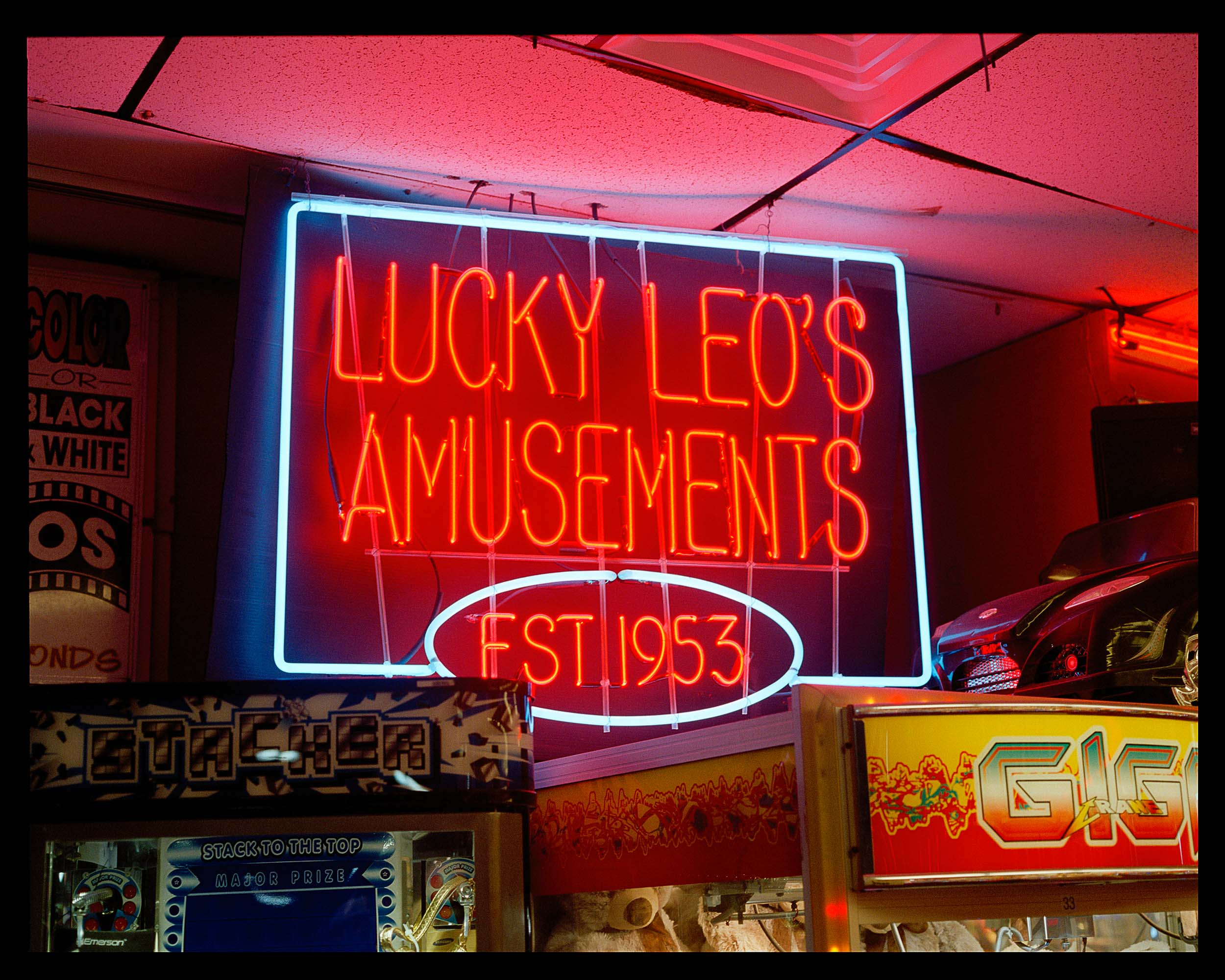 Est. 1953, Seaside, NJ. 2015. Bronica ETRS.    Lucky Leo's is one the biggest arcades on the boardwalk.""