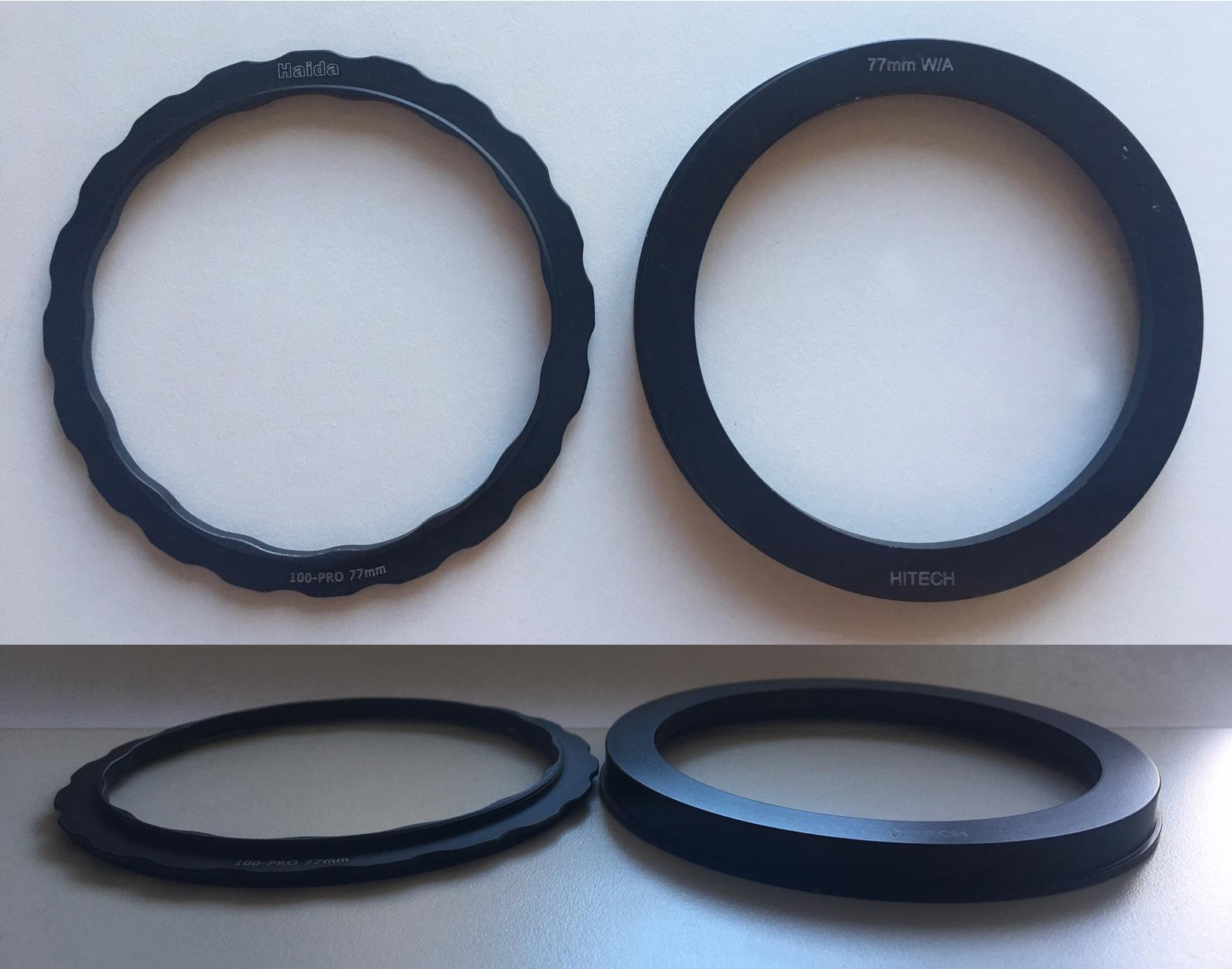 Size comparison between the Lens adapter rings. The Haida Pro lens adapter (Left) is much thinner and lighter than the Formatt Hitech one (Right).